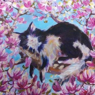"Картина на холсте ""Весенние сны "" кот"