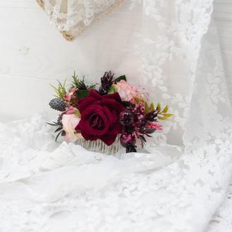гребень большой с бархатной розой