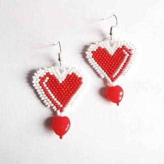 Серьги из бисера сердце Красное сердце из бисера оранжевые Ручная работа Лучший подарок девушке