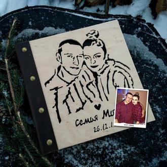 3в1 Гостьова книга + Фотоальбом + Портрет із дерева ручної роботи (гостевые книги, свадебные альбомы