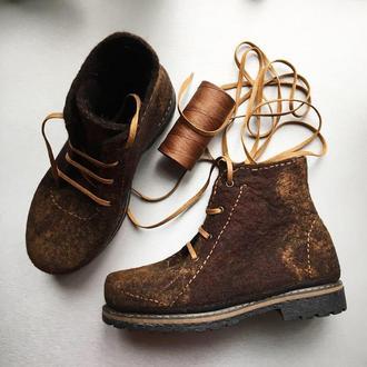 Валяные ботинки женские