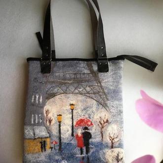 Валяная сумка « улочками Парижа»