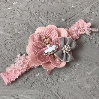 Повязка рожева балерина