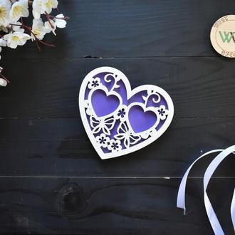 """Ажурная свадебная подставка для обручальных колец """"Сердце"""""""