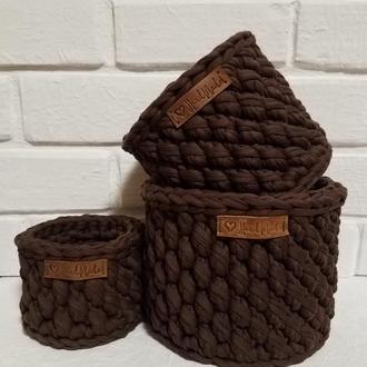 Набор корзин из трикотажной пряжи
