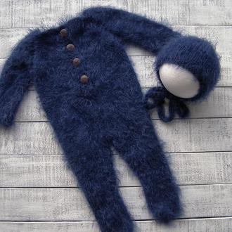 Слип (пижама, комбинезон, человечек) + шапочка для фотосессии новорожденных