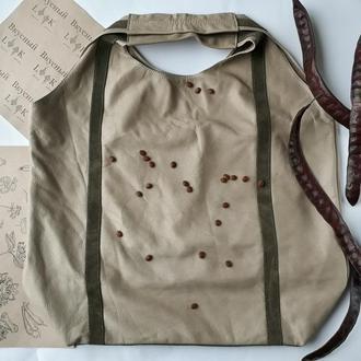"Кожаная сумка-мешок ""Настурция"""