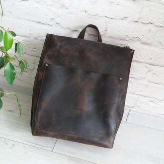 Сумка-рюкзак из натуральной кожи CrazyHorse. Цвет шоколад