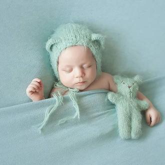 Шапочка с ушками и медвежонок для фотосессии новорожденных