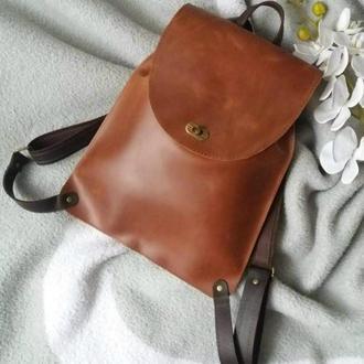 Сумка-рюкзак з натуральної шкіри CrazyHorse. Колір коньячний.