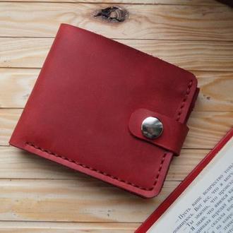 Женский красный кошелек из кожи