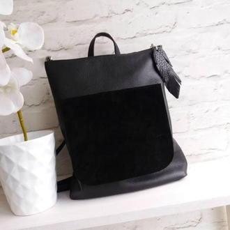 Сумка-рюкзак из натуральной кожи флотар+замша. Цвет черный.