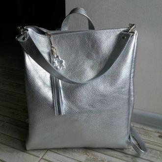 Сумка-рюкзак из натуральной кожи флотар. Цвет серебро