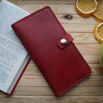 Кожанный  портмоне красный женский клатч