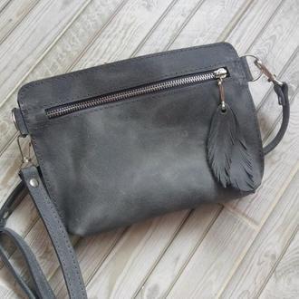 Поясная сумка из натуральной кожи Орландо. Цвет серый.