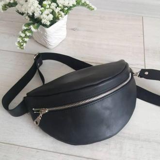 Поясная сумка из натуральной кожи CrazyHorse. Цвет черный.