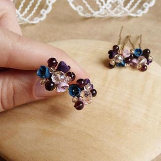Шпильки для волос, шпильки с цветами, миниатюрные цветы