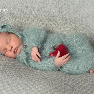 Слип (пижама, комбинезон, человечек) + шапочка с ушками для фотосессии новорожденных