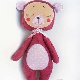 Сливовый медвежонок-сплюшка, мягкая игрушка