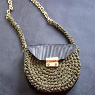 Кожаная сумка через плечо ХАКИ, Вязанная сумка котомка с вставками из эко кожи, подарок для женщин