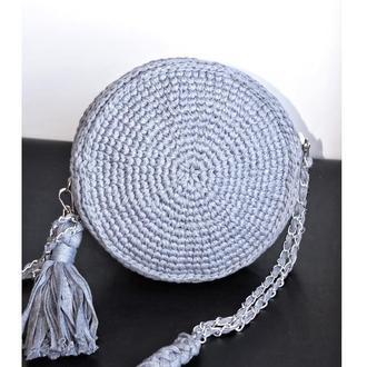 Женская сумка круглая, Котомка женская стильная через плечо, серого цвета, подарок