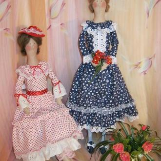 """Отличный подарок. Интерьерная кукла в стиле Тильда. """"Дама в шляпке"""" и """"Дама с букетом цветов""""."""