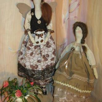 """Отличный подарок. Интерьерная кукла в стиле Тильда. """"Кофейная фея"""" и ее """"Подружка""""."""