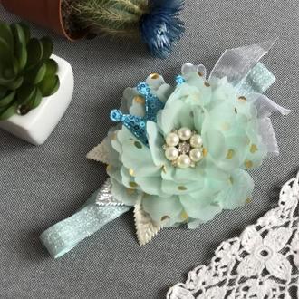 Повязочка цветочек с короной мята
