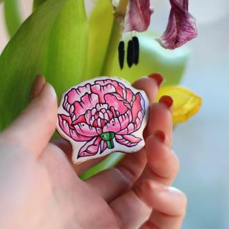 Брошка квітка піон