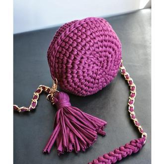 Женская сумка с длинной ручкой, Сумка через плечо, Повседневная сумка из пряжи, 'МАРСАЛА'