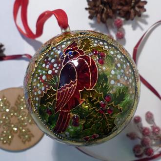 Елочный шар с витражной росписью «Зимнее утро»