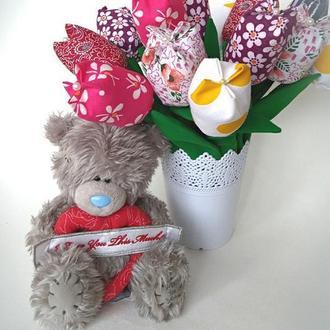 Текстильные тюльпаны, тюльпаны тильда, вечные цветы (открытый бутон)