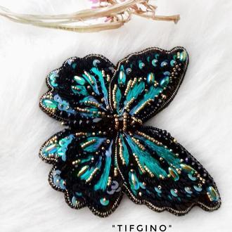 """Большая вышитая брошь-бабочка """"Tifgino"""""""