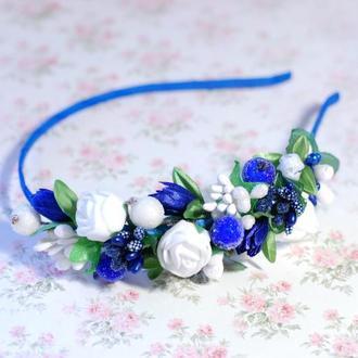 Обруч ободок для волос ассиметричный бело-синий