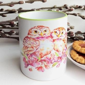 """чашка с  иллюстрацией """"Весенние совушки"""""""
