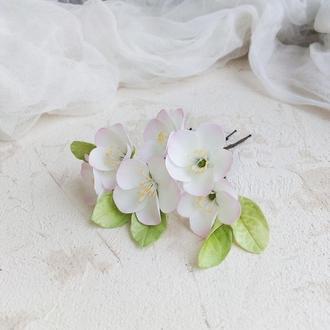 Шпильки для волос Яблоневый цвет, Свадебные шпильки с цветами