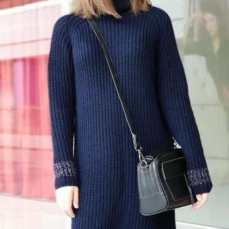 Вязаное платье Длинный свитер резинкой Модный свитер Трикотажное платье Вязаное платье
