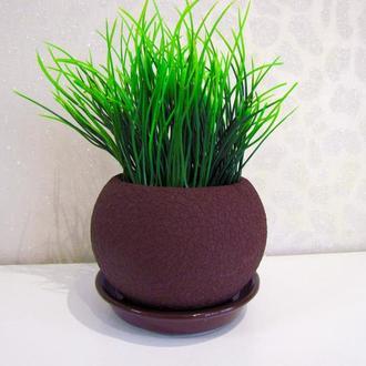 Искусственная трава в горшке цвета темный шоколад