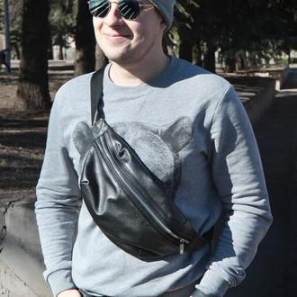 Черная кожаная Бананка (сумка через плечо)