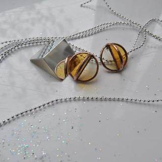 Скляні сережки напівсфера