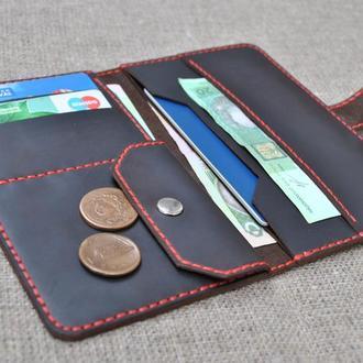 Кошелек из кожи для денег и паспорта K73-450+red
