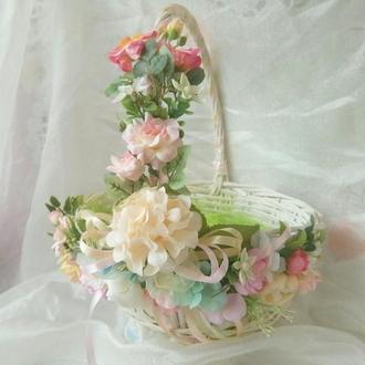 Кошик з лози Великодній кошик з квітами Корзина декоративна