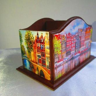 """Настольная карандашница """"Амстердам"""", органайзер, короб, подставка для ручек"""