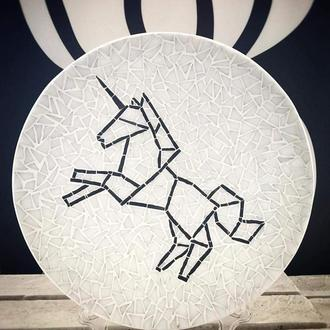 Интерьерная декоративная тарелка с единорогом, декор из мозаики