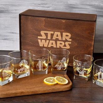 Подарочный стеклянный набор графин и стаканы с персональной гравировкой «Star Wars»