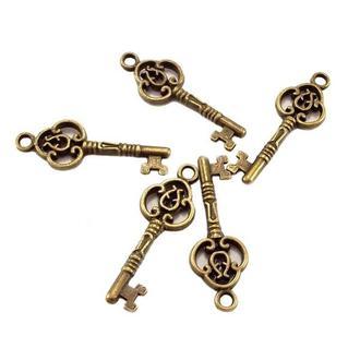 Ключик металлический 10х28 мм, бронза, 5 шт.