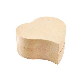 Шкатулка Сердечко (без петель) 8х7,5х3 см, ольха
