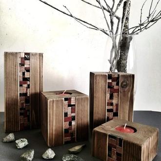 Набор из 4х подсвечников из дерева в стиле винтаж