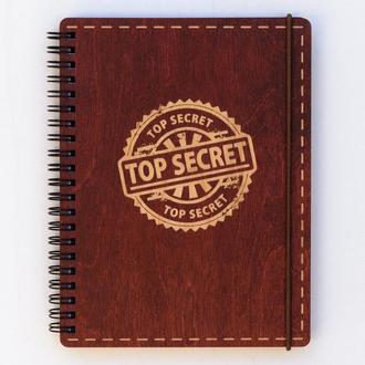 Блокнот с деревянной обложкой Top secret А 5 190 х 145 мм