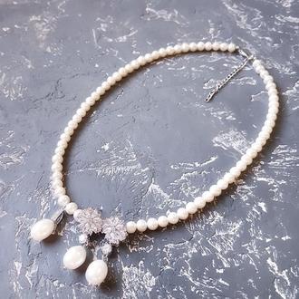 Комплект из натурального жемчуга ожерелье и серьги